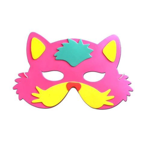 Cat Childrens Foam Animal Mask Pink With Yellow Whiskers