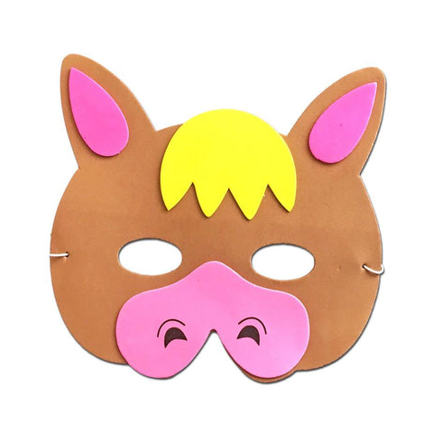 Donkey Childrens Foam Animal Mask - Brown