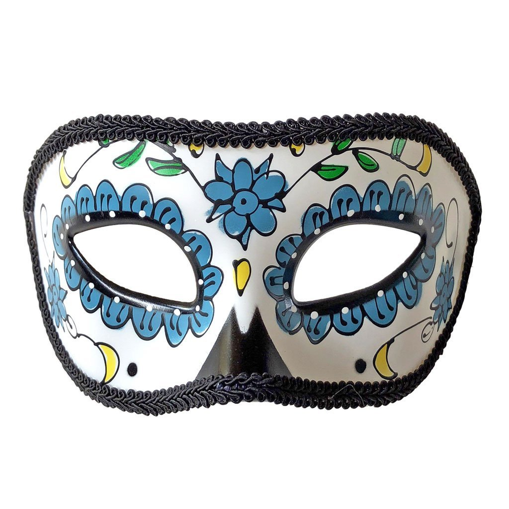 Masquerade Mask - Day Of The Dead Masquerade Mask With Blue Detail