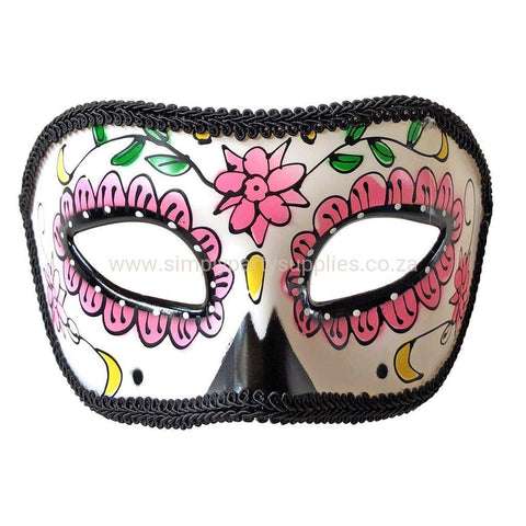 Day Of The Dead Masquerade Mask With Pink Detail
