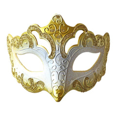 Venetian Fancy Glitter Masquerade Mask Gold and White