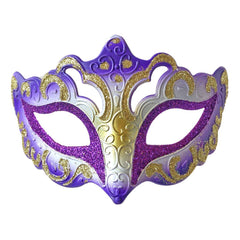 Venetian Fancy Glitter Masquerade Mask Purple and Gold