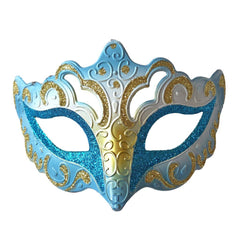 Venetian Fancy Glitter Masquerade Mask Turquoise and Gold