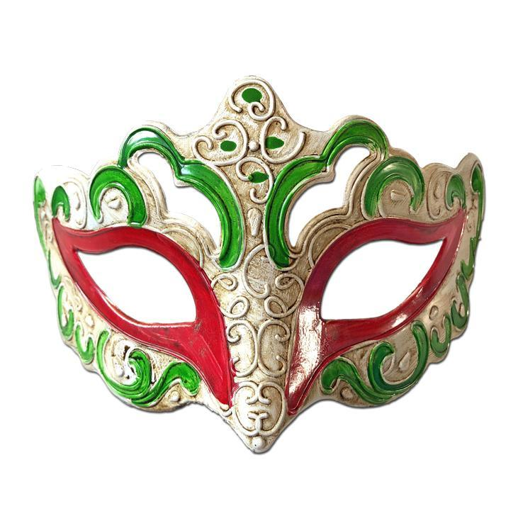 Aged Venetian Masquerade Mask Green and Red - Masquerade Mask - Simply Party Supplies