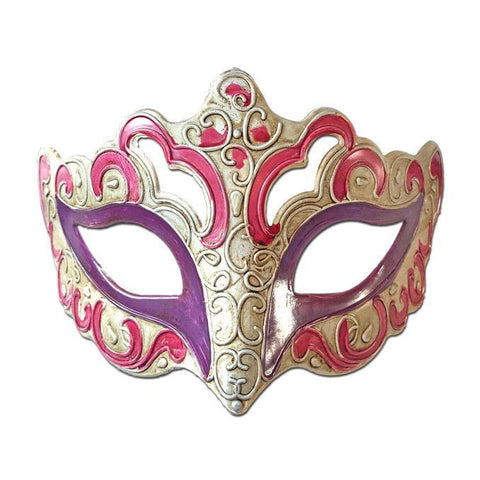 Aged Venetian Masquerade Mask Pink and Purple