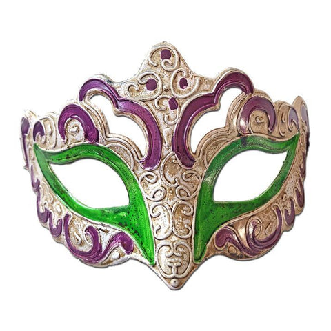 Aged Venetian Masquerade Mask Purple and Green