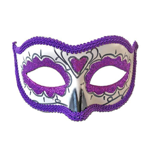Rubber Mask - Day Of The Dead Masquerade Mask Purple