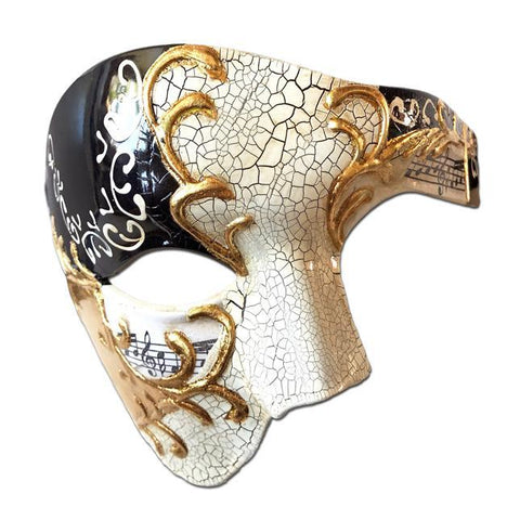Deluxe Music Note Phantom Of The Opera Masquerade Mask In Black Gold White