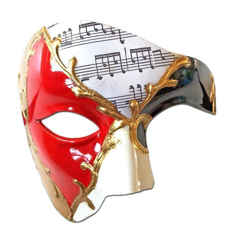 Deluxe Music Note Phantom Of The Opera Masquerade Mask In Red Black Gold