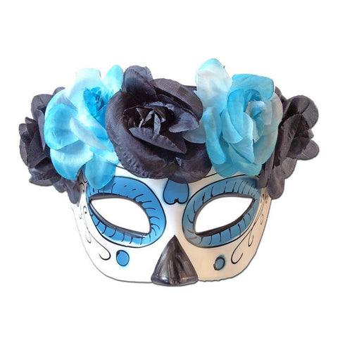 Masquerade Mask - Day Of The Dead Masquerade Mask With Floral Band Blue