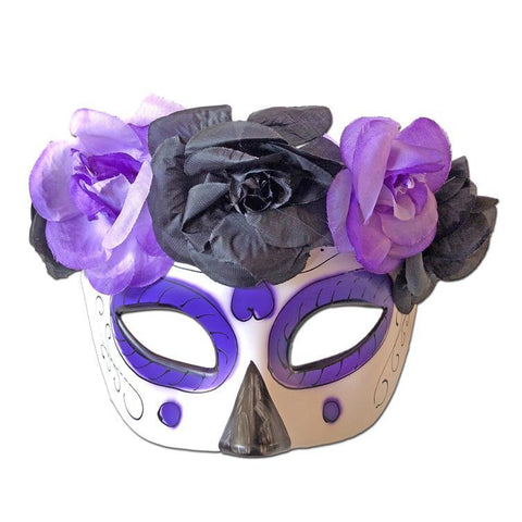 Day Of The Dead Masquerade Mask With Floral Band Purple day of the dead, fancy dress, festival, halloween, masks, masquerade, purple, venetian, womens