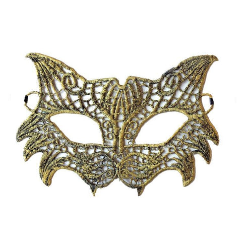 Economy Wild Cat Style String Masquerade Mask Gold