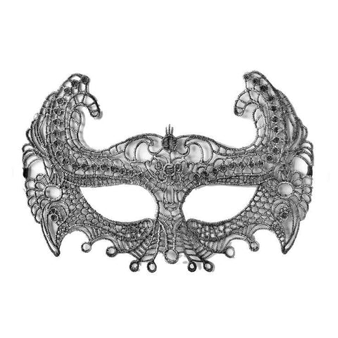 Economy String Masquerade Mask With High Sides Silver adult one size, budget, cotton, economy, fancy dress, lace, masks, masquerade, silver, venetian, womens