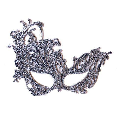 Economy String Masquerade Mask With Flare Silver