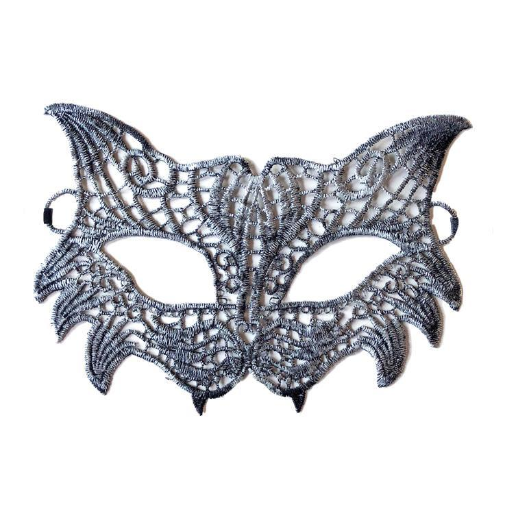 Masquerade Mask - Economy Wild Cat Style String Masquerade Mask Silver