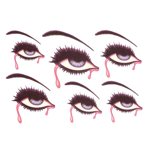 Bleeding Eyes Temporary Tattoo Themed Sheet colour, halloween, sheet, tattoo, themed, wholesale