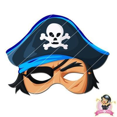 Childrens DIY Printable Pirate Mask - Blue