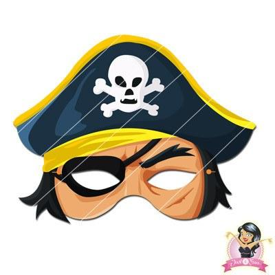 Childrens DIY Printable Pirate Mask - Yellow boys, childrens, digital by link, fancy dress, half masks, masks, pirate, pirates, printable
