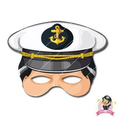 Childrens DIY Printable Naval Captains Mask boys, childrens, digital by link, fancy dress, half masks, masks, pirate, printable