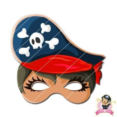 Childrens DIY Printable Girl Pirate Mask - Red