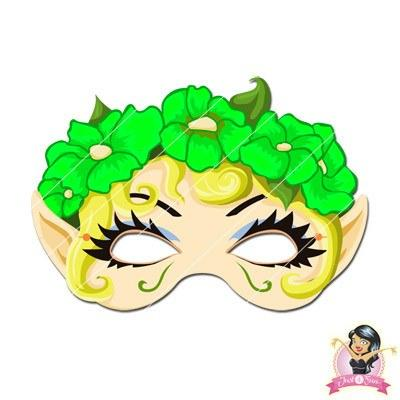 Childrens DIY Printable Fairy Mask - Green