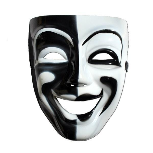 Masquerade Mask - Mens Masquerade Mask - Black And White Happy