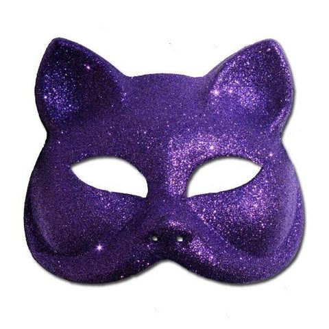 Glitter Cat Masquerade Mask In Purple