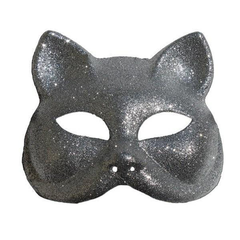 Glitter Cat Masquerade Mask In Silver