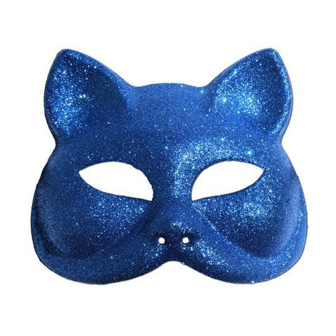 Glitter Cat Masquerade Mask In Blue