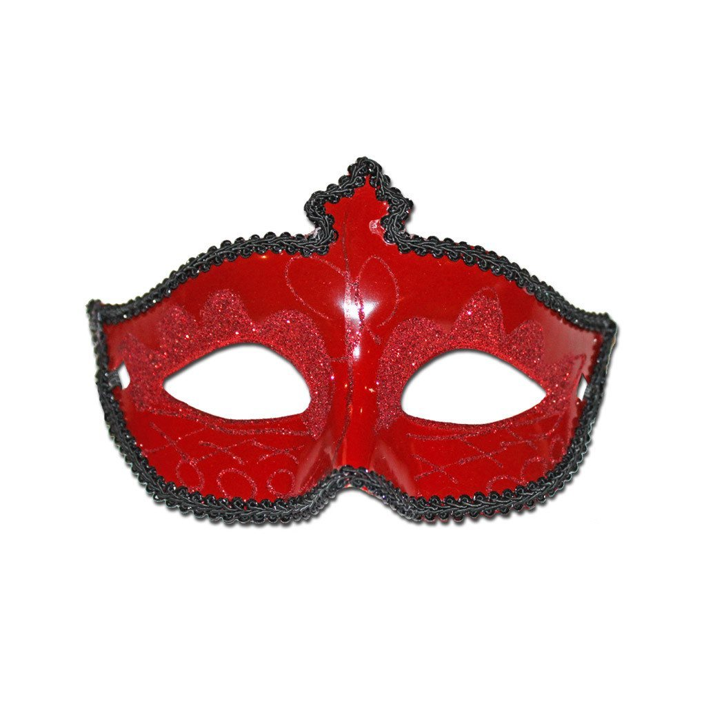 Fancy Scout Masquerade Mask Red With Black Trimming adult one size, fancy dress, mardi gras, masks, masquerade, red, venetian, womens