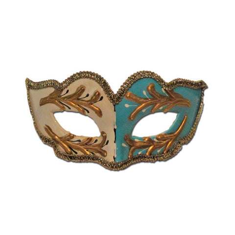 Petite Childrens Masquerade Mask - White And Blue