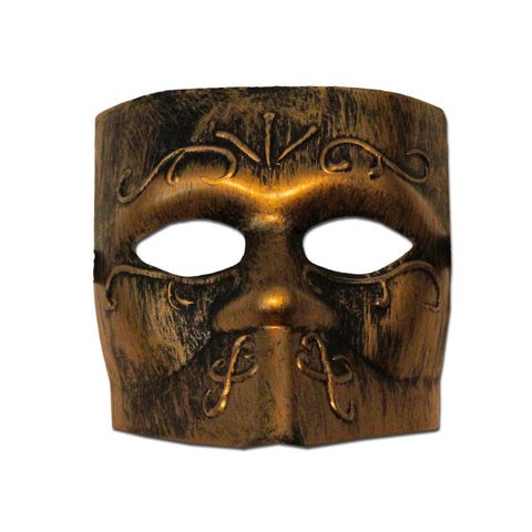 Bronze Bauta Venetian Mens Masquerade Mask - Masquerade Mask - Simply Party Supplies