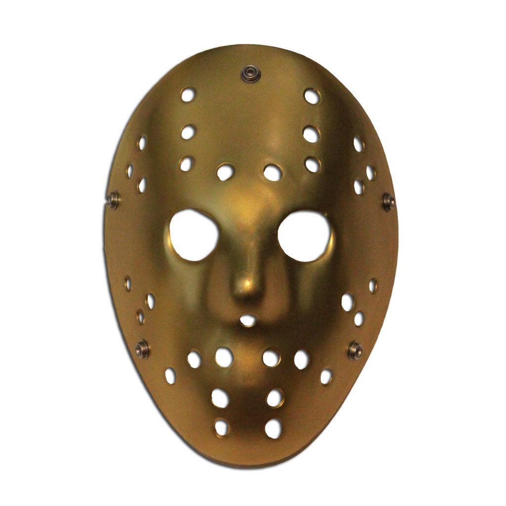 Hockey Mask - Gold adult one size, fancy dress, gold, half masks, halloween, jason voorhees, masks, scary, villains
