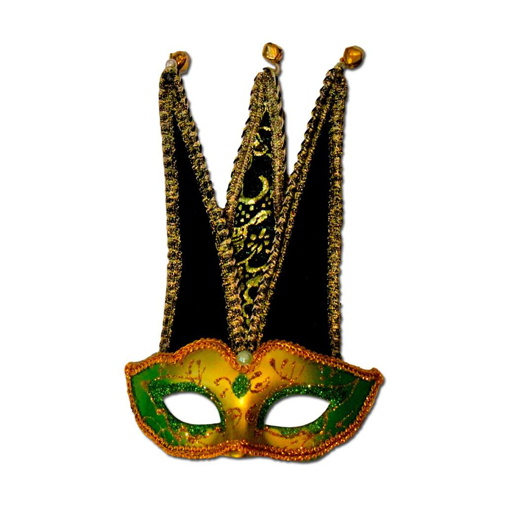 Petite Jester Masquerade Mask In Gold And Green boys, childrens, fancy dress, girls, gold, green, mardi gras, masks, masquerade, venetian, womens