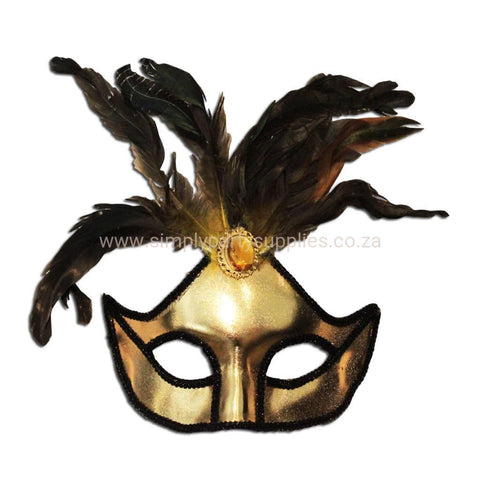 Ladies Gold Masquerade Mask With Large Jewel