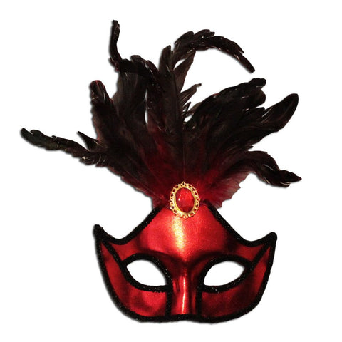 Ladies Red Masquerade Mask With Large Jewel