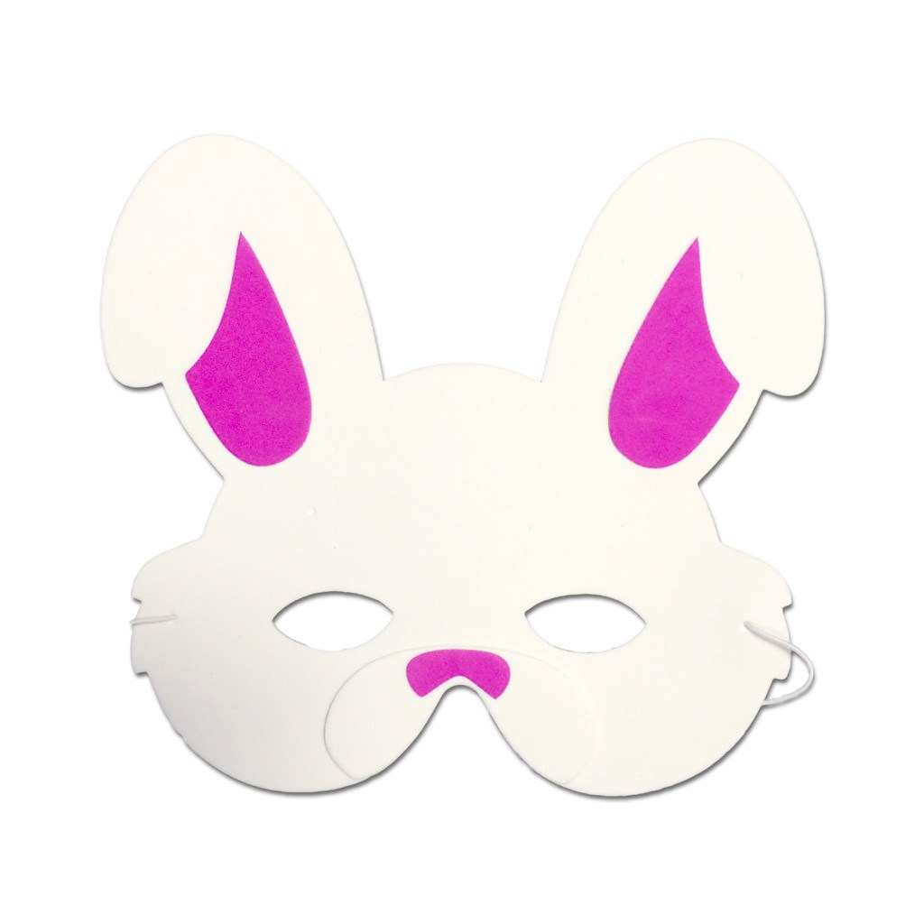 Childrens Masks - Rabbit Childrens Foam Animal Mask In White With Pink Ears