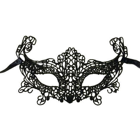 Soft Economy String Masquerade Mask With High Sides Black adult one size, black, budget, cotton, economy, fancy dress, lace, masks, masquerade, venetian, womens