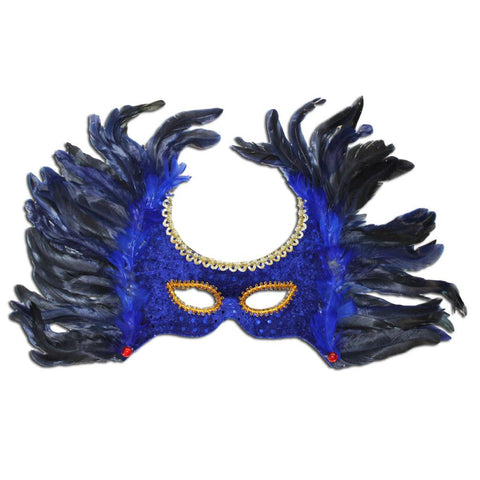 Royal Blue Winged Feather Masquerade Mask