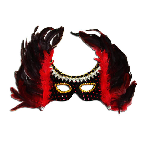 Red And Black Winged Feather Masquerade Mask