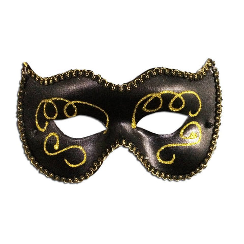Masquerade Mask - Womans Masquerade Mask Black With Gold Detail