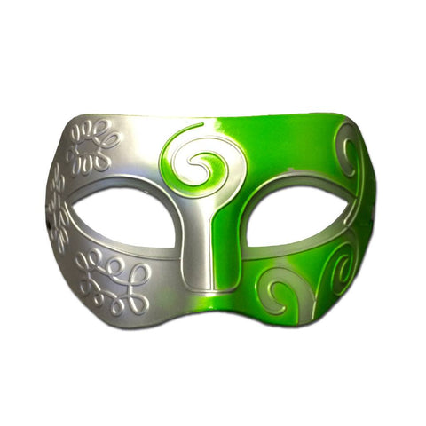 Mens Masquerade Mask - Silver And Green Swirl fancy dress, green, masks, masquerade, mens, silver, venetian, womens