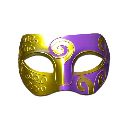 Masquerade Mask - Mens Masquerade Mask - Gold And Purple Swirl