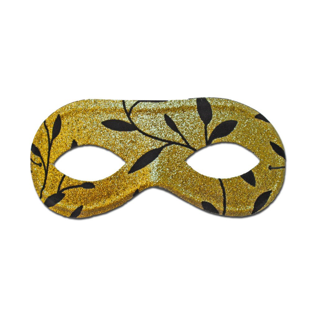 Masquerade Mask - Gold Masquerade Mask With Black Leaf Design
