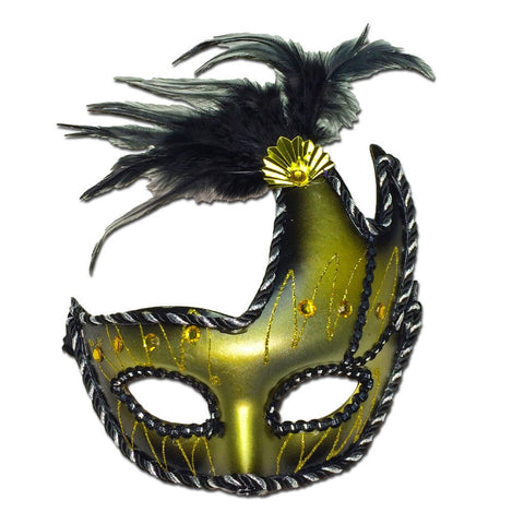 Gold & Black Winged Masquerade Mask With Feathers