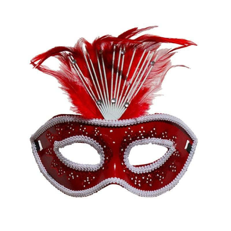 Masquerade Mask - Red Crowned Masquerade Mask With Feathers