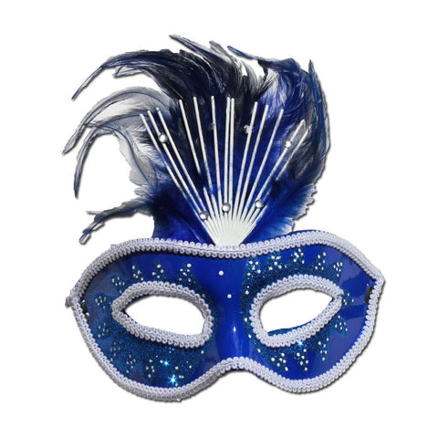 Blue Crowned Masquerade Mask With Feathers