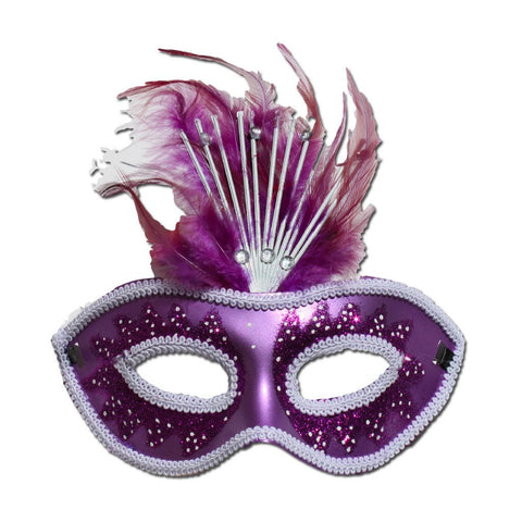 Purple Crowned Masquerade Mask With Feathers