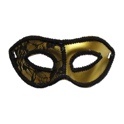 Masquerade Mask - Gold Masquerade Mask With Half Lace