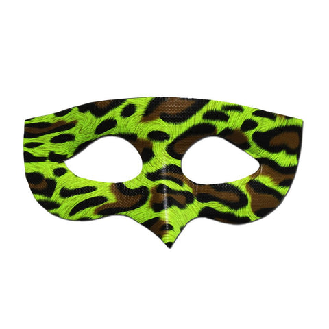 Green Leopard Masquerade Mask adult one size, animal print, clearance, fancy dress, green, masks, masquerade, venetian, womens